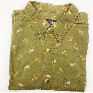 Woolrich Fishing Flies Casual Button Up Short Sleeve Shirt Light Olive XL